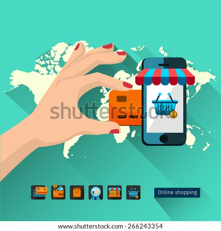 Icons shop online, business icons flat design. App icons, web ideas network page, virtual shopping, credit card, - stock vector
