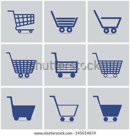 icons shopping cart. vector set. eps10 - stock vector