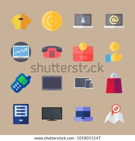 icons Shopping with location, television, coin, computer and piggy bank