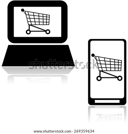 Icons showing a shopping cart inside a computer and mobile phone - stock vector