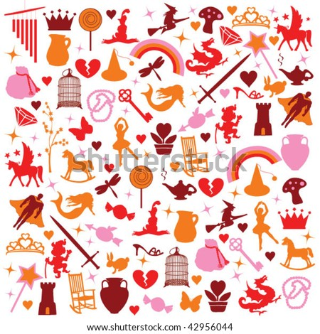 icons silhouette fantasy pattern - stock vector