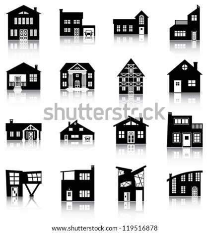 Icons/ silhouettes of houses. - stock vector
