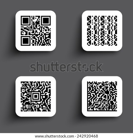 ICONS SIMPLE QR CODE - stock vector