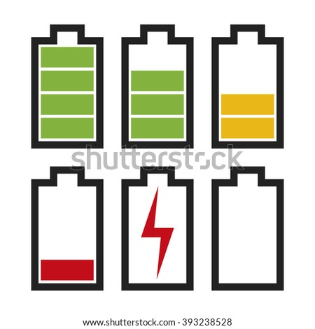 Icons sowing different charge status in an electric battery. Full charge, medium charge, low charge, empty, out of battery.  - stock vector