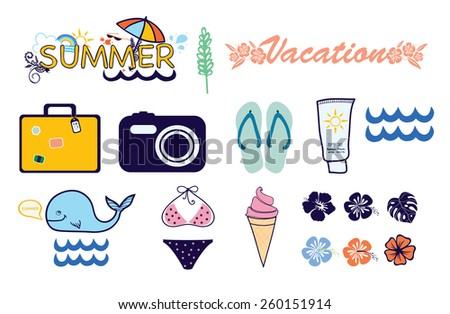 Icons summer vacation - stock vector