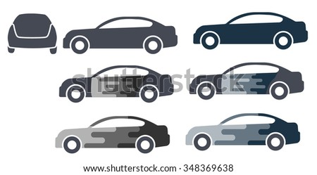 Icons, Templates sedan cars for use on site, advertising, print production, logo, background for an inscription.