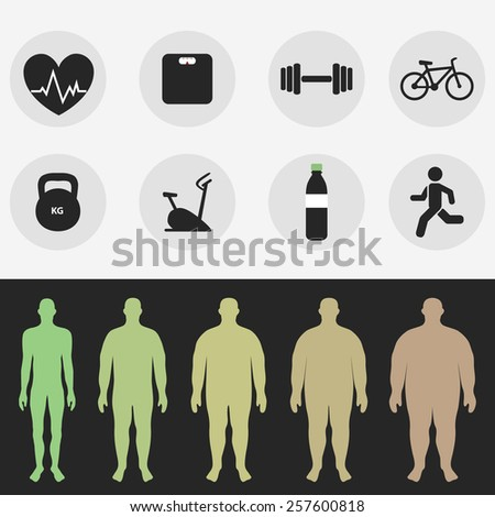 Icons, the figure of a man, sport, fitness, diet. Vector - stock vector