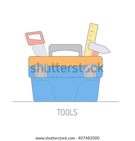 Icons tools. Flat line design tools box with tool. - stock vector