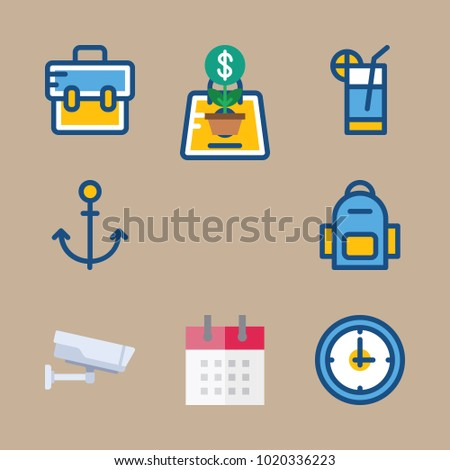 Icons Travel Cocktail Briefcase Anchor Watch Stock Photo Photo