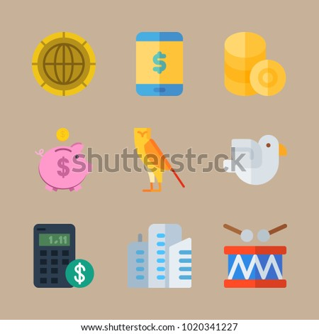 icons United States with coin, money, drumstick, bird and coins