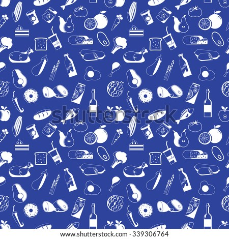 Icons used in supermarket white seamless. Placed on blue color background. In vector format. - stock vector
