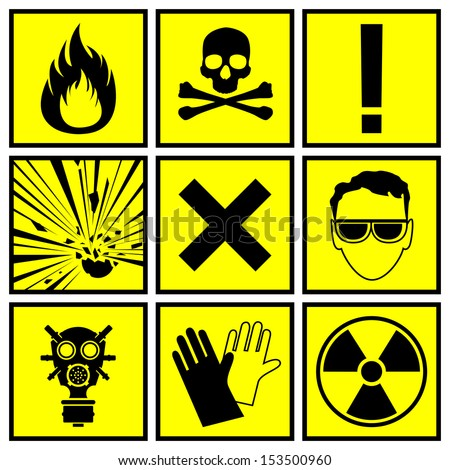 Icons warning of danger - stock vector