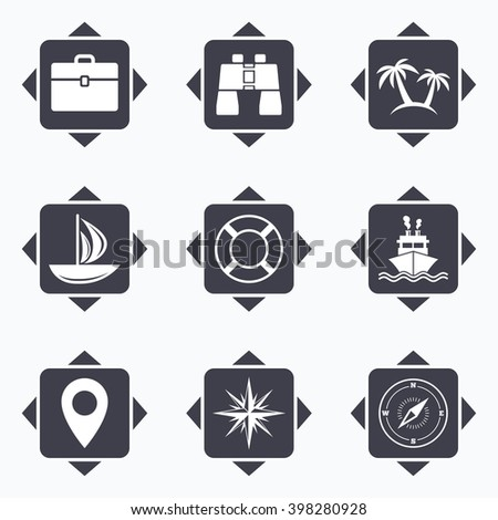 Icons with direction arrows. Cruise trip, ship and yacht icons. Travel, cocktails and palm trees signs. Sunglasses, windrose and swimming symbols. Square buttons. - stock vector