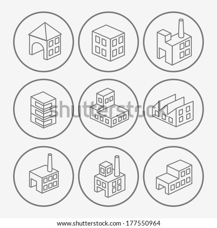 Icons with factories and plants - stock vector