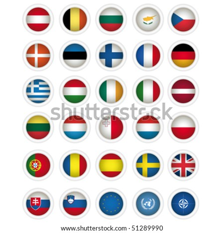 icons with flags of the European union, isolated on white - stock vector