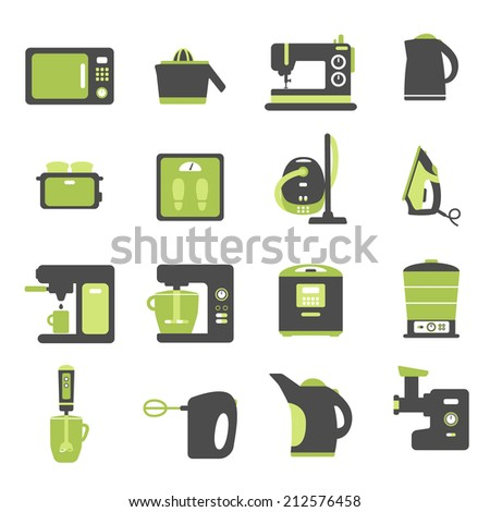 Icons with kitchen utensils, set of flat icons with home appliances - stock vector