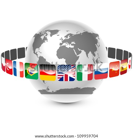 icons with languages around the earth vector - stock vector