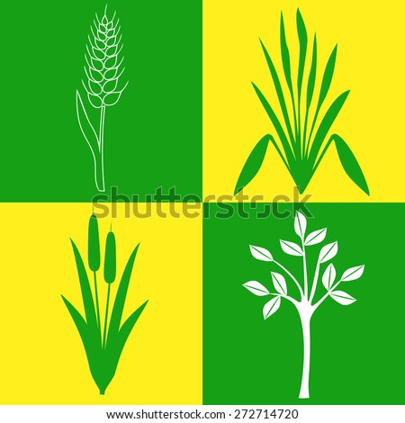 icons with plants - stock vector
