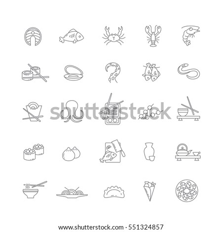 Icons with seafood