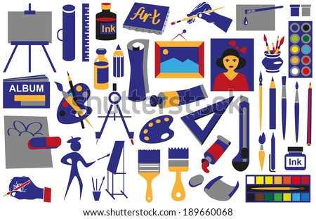 Icons with the attributes of art on a white background. - stock vector