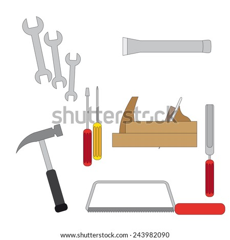 Icons with tools for a carpentry