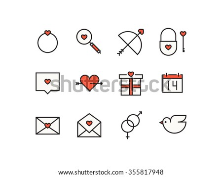 Icons with Valentine's day signs and symbols