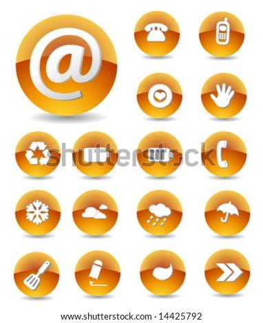 Iconset Glossy orange 2 - stock vector