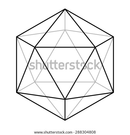 Icosahedron line drawing vector, sacred geometry, platonic solid, logo design - stock vector