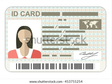 ID Card. Flat design style. - stock vector