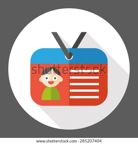 id card flat icon with long shadow - stock vector