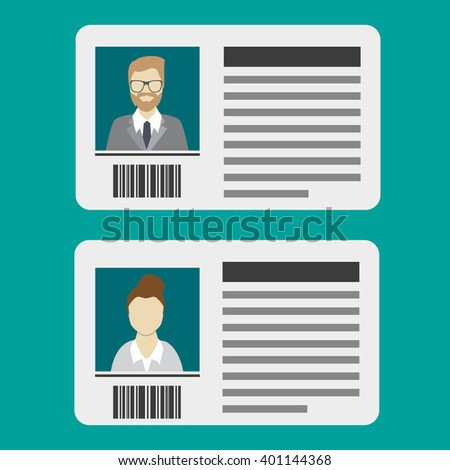 ID card icon, identification card, vector icon - stock vector