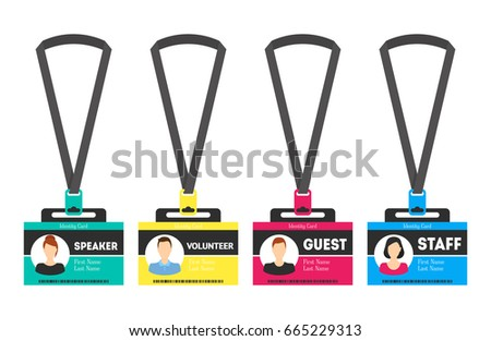 id card template color plastic badge stock vector royalty free