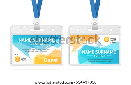 Id Card Template Plastic Badge Abstract Stock Vector (Royalty Free ...
