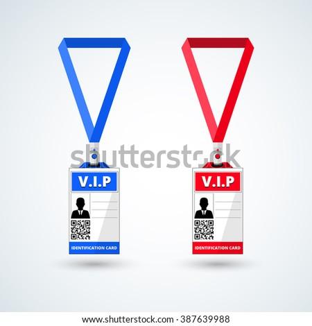 id card vip with lanyard set. vector illustration - stock vector
