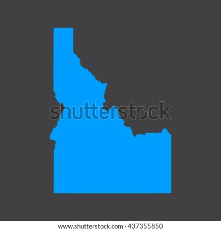 Idaho blue map,border on black background. Vector illustration. - stock vector