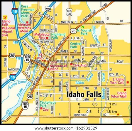 Idaho Falls Idaho Area Map Stock Vector 162931529 Shutterstock