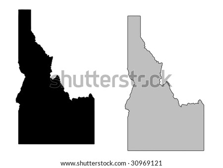 Idaho map. Black and white. Mercator projection. - stock vector