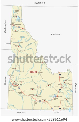 idaho road map - stock vector