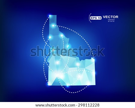 Idaho US state map polygonal with spotlights places - stock vector