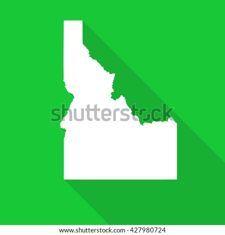 Idaho white state map,border flat simple style with long shadow on green background - stock vector