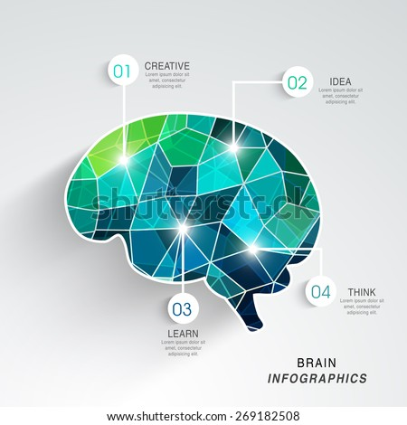 Idea and Education concept with creative illustration of human brain on grey background.   - stock vector