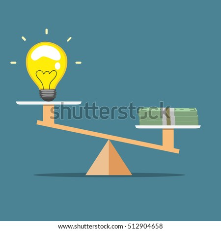 idea and money on the scale , Value of money - vector illustration