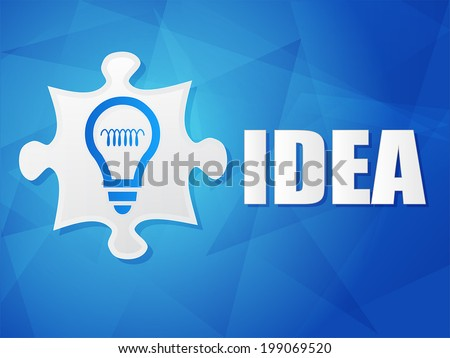 idea and puzzle piece with light bulb sign - white text with symbol over blue background, flat design, business creative concept, vector - stock vector