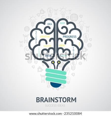 Idea brainstorm design concept with creative vision symbols in lightbulb brain shape vector illustration - stock vector