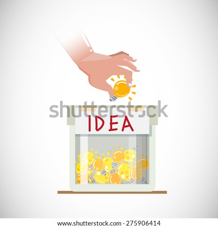 Idea Bulb in hand to box. giving ideas concept. donate and share ideas - vector illustration - stock vector