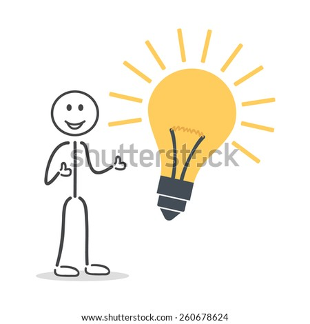 idea bulb man thumps up  - stock vector