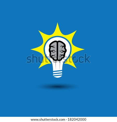 idea bulb with brain glowing with solutions - concept vector icon. This graphic also represents creative problem solving, genius mind, smart thinking, inventive mind, innovative man, abstract thought - stock vector