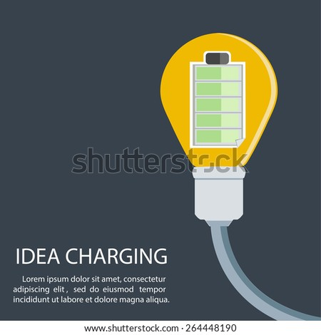 Idea Charging Battery / Power / Lighbulb / vector / EPS10 - stock vector