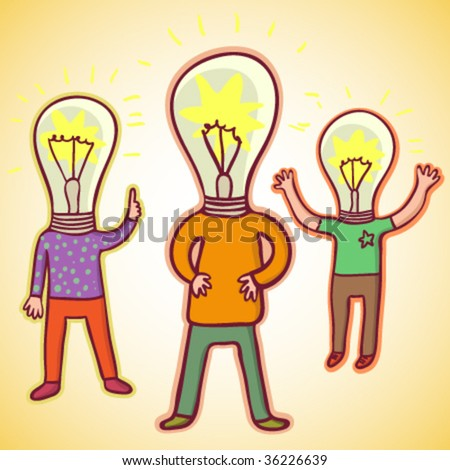 Idea concept. Funny cartoon illustration - stock vector