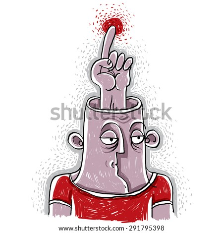 Idea concept. Hand-drawn illustration of a person thinking, finger pointing up at some space. Smart human metaphor.  - stock vector